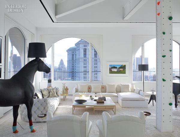 living room_Front_s_equine_lamp_overlooks_the_living_area_where_a_quilted_sofa_by_Paola_Navone_a_sectional_by_Pier_Luigi_Frighetto_and