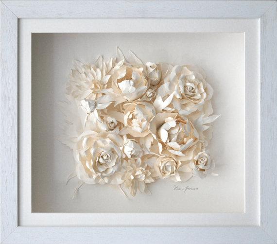 Art flower clusterwhite cabana white cabana framed ivory floral paper art mightylinksfo