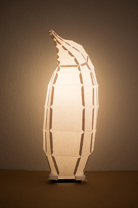 penguin lamp lit