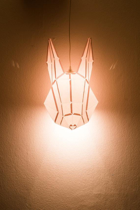 wolf lamp lit
