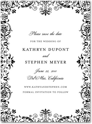 Guest post save the date from wedding paper divaswhite cabana formal wedding invitation to follow wedding paper divas regal pattern save the date white stopboris Images