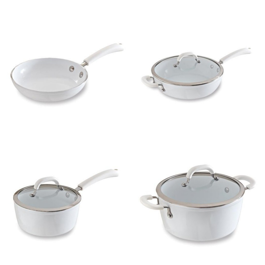 white cookware, $44-$129, The Pampered Chef
