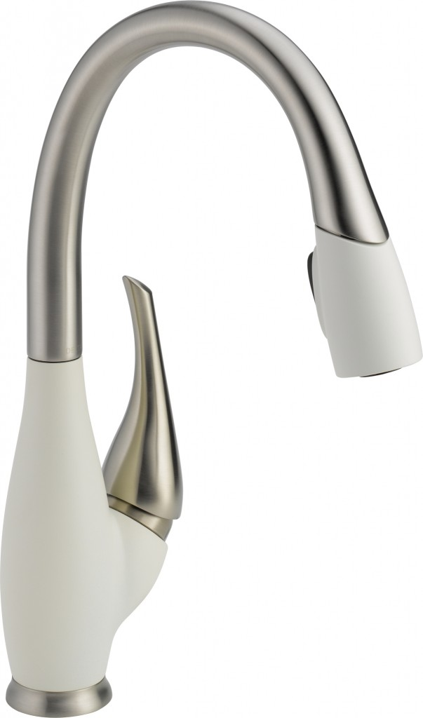 Delta Fuse Kitchen Faucet In Snowflake White And Nickel Kitchen Faucet White Kitchen Faucet
